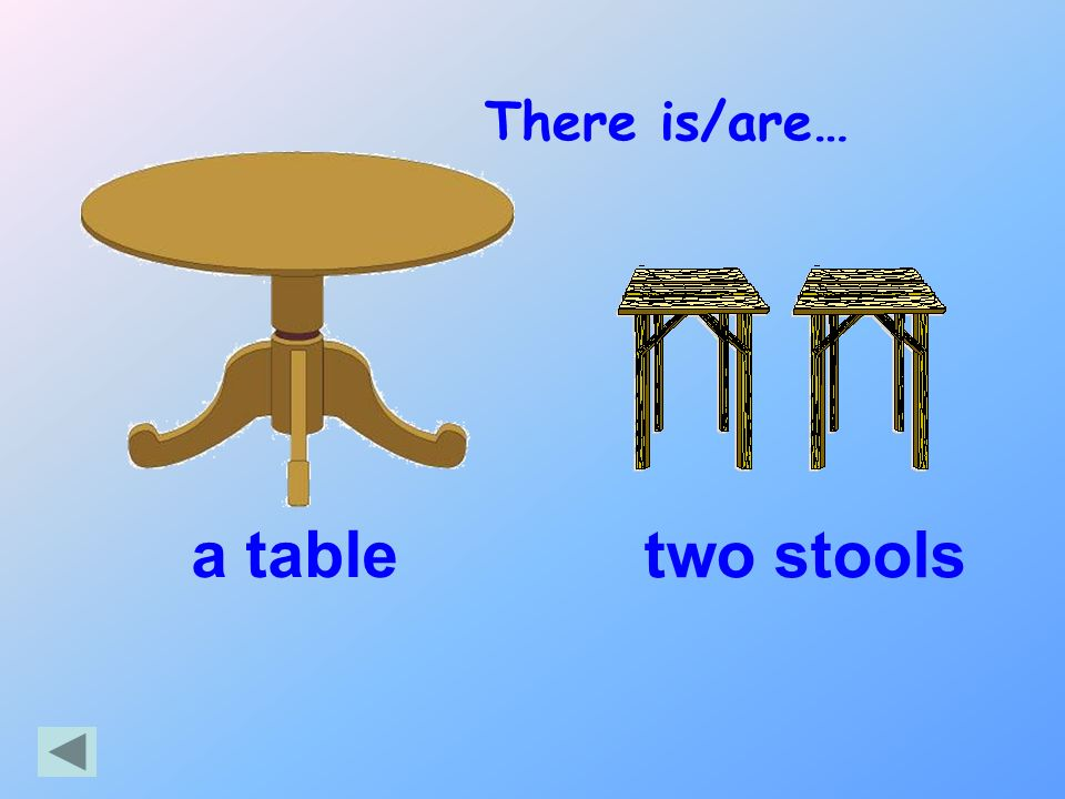 There is/are… a table two stools