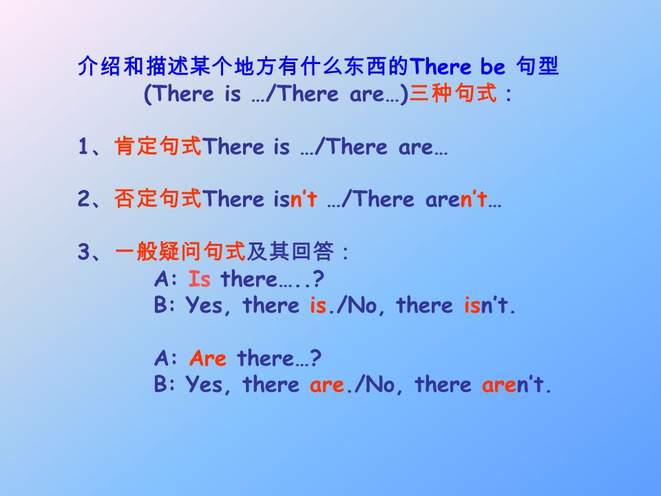 介绍和描述某个地方有什么东西的There be 句型
