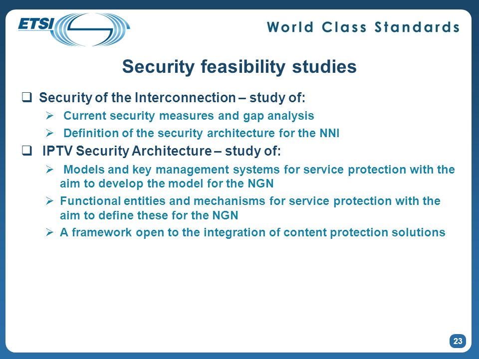 Security feasibility studies