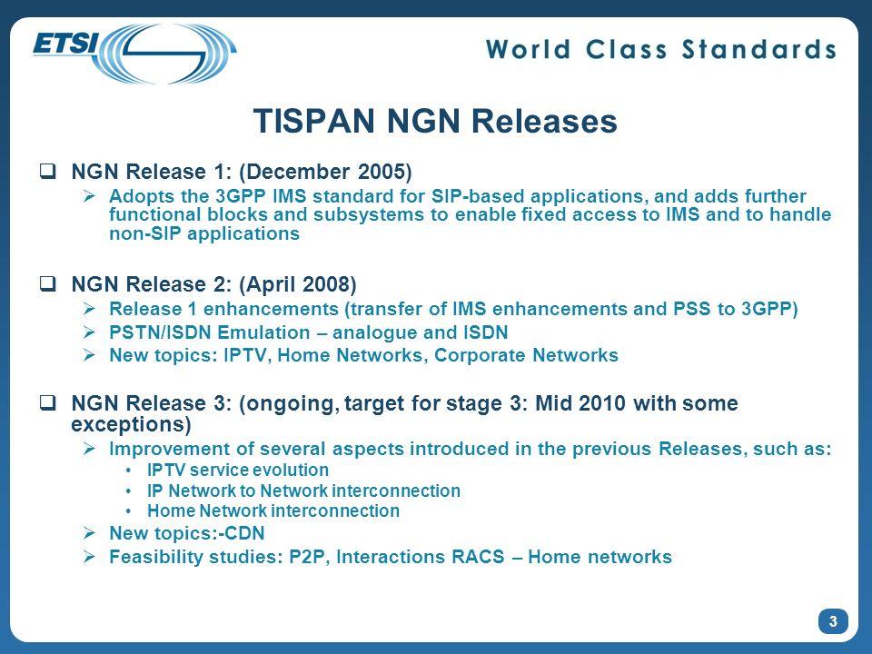 TISPAN NGN Releases NGN Release 1: (December 2005)