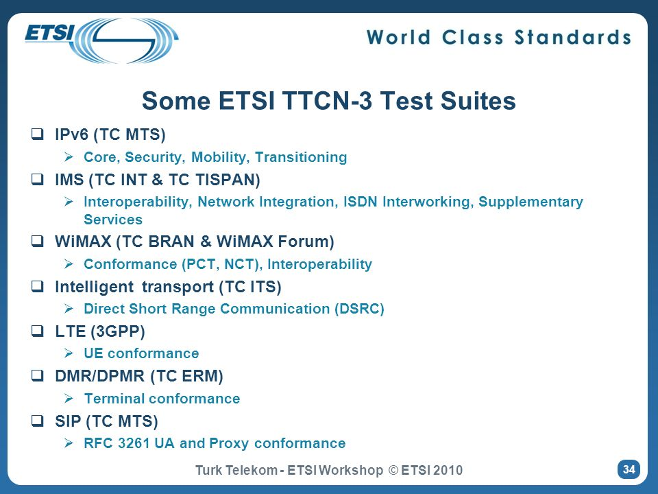 Some ETSI TTCN-3 Test Suites