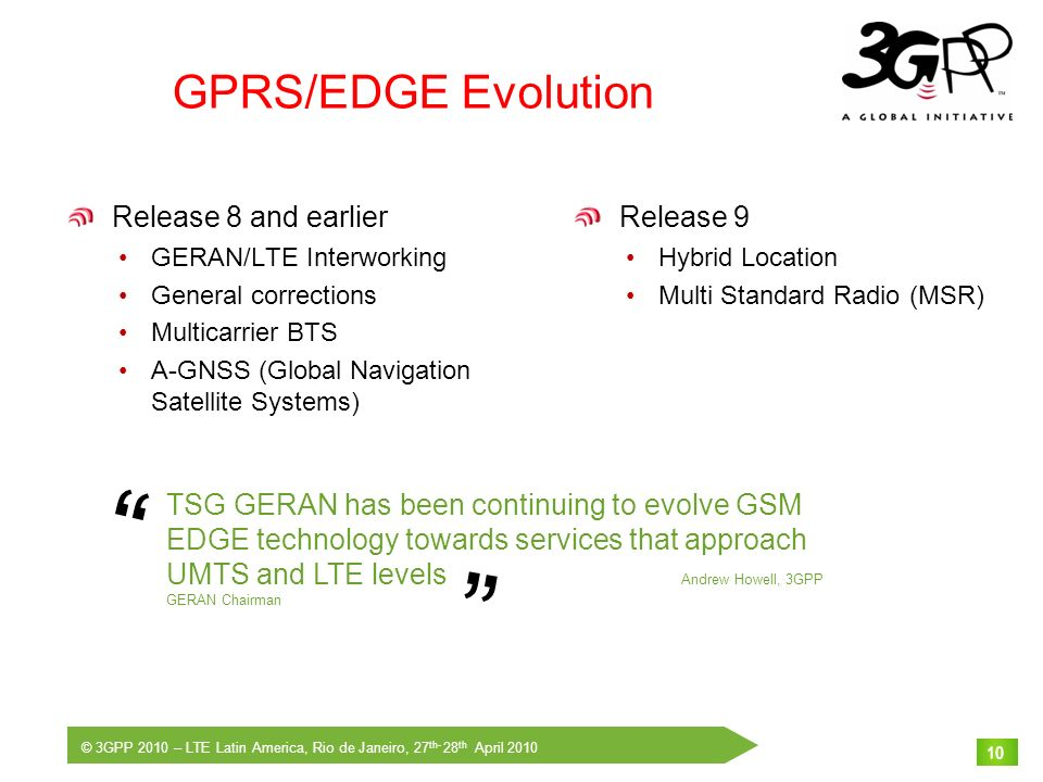 GPRS/EDGE Evolution Release 8 and earlier Release 9