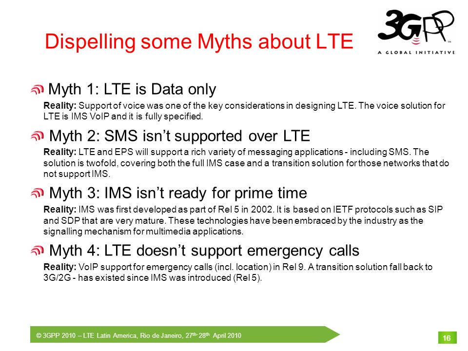 Dispelling some Myths about LTE