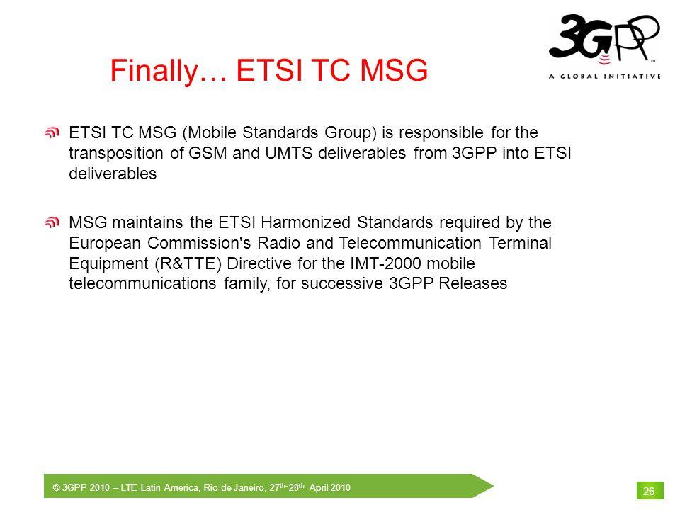 Finally… ETSI TC MSG