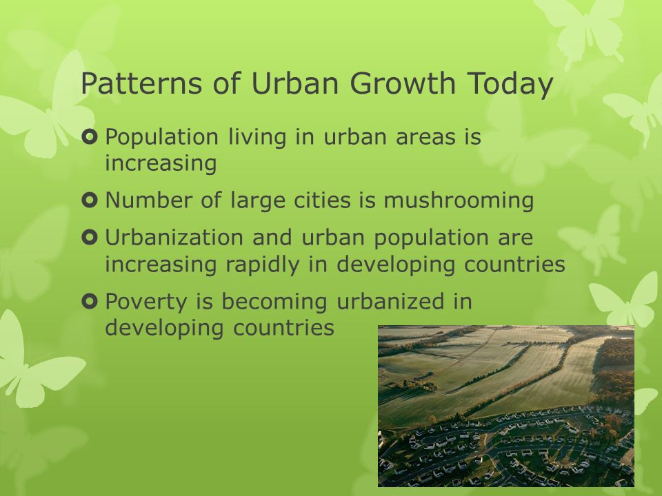 patterns of urban growth and development essay The 27 typical patterns of urban and suburban development  cities are comprised of a combination of 27 development categories—from the urban grid typical of .