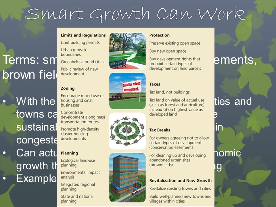 Smart Growth Can Work Terms: smart growth, conservation easements, brown fields.