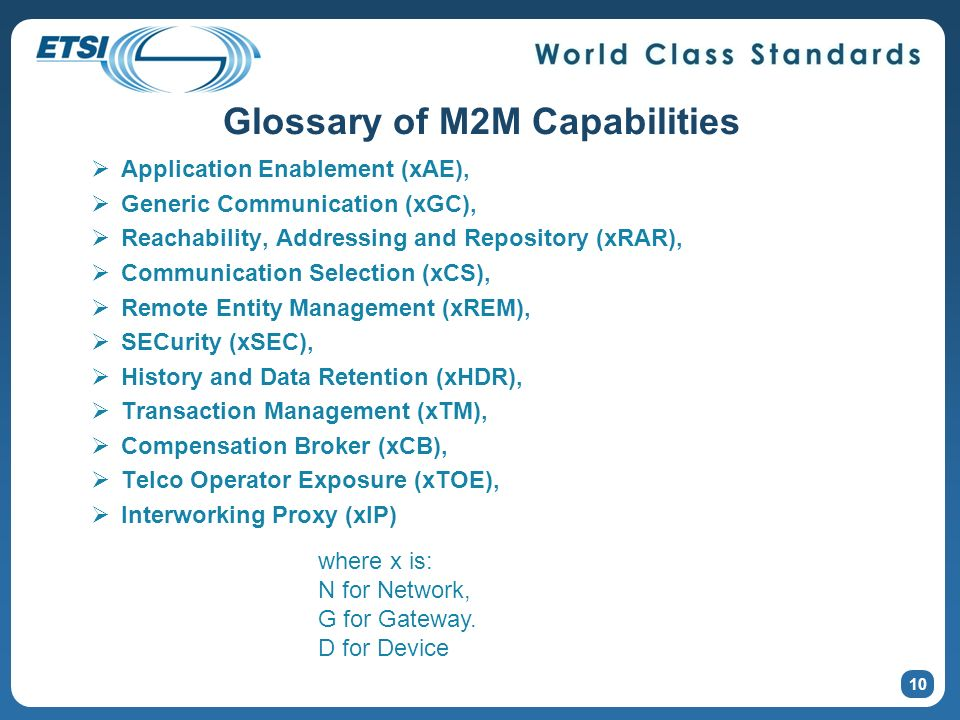 Glossary of M2M Capabilities