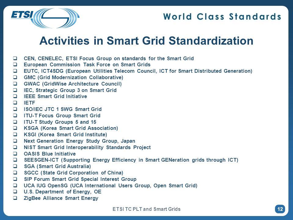 Activities in Smart Grid Standardization