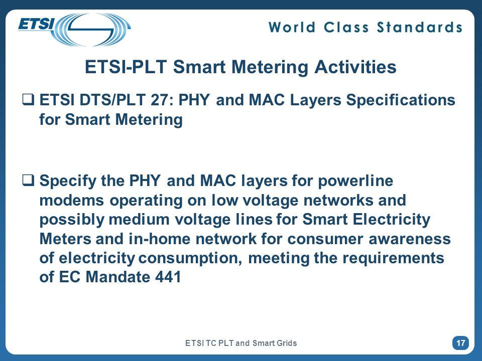 ETSI-PLT Smart Metering Activities