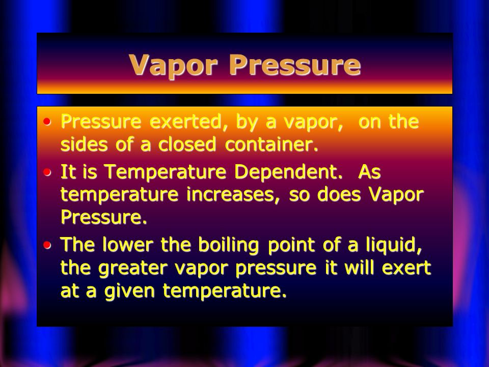 Vapor Pressure Pressure exerted, by a vapor, on the sides of a closed container.