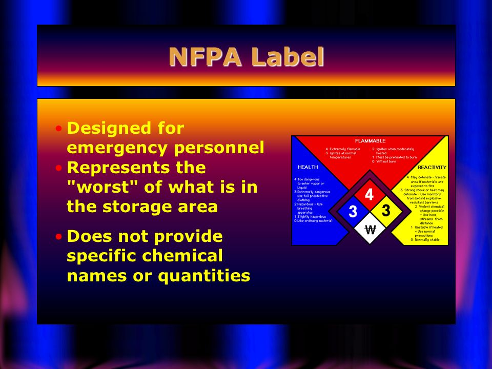 NFPA Label Designed for emergency personnel