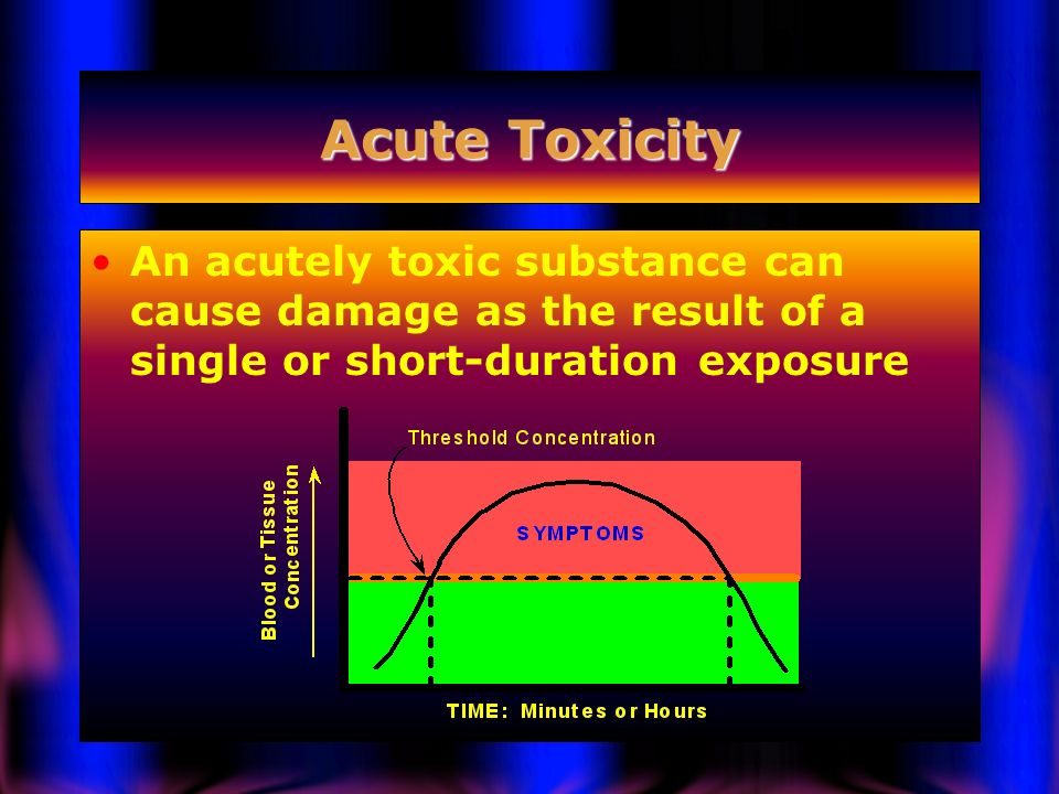 Acute Toxicity An acutely toxic substance can cause damage as the result of a single or short-duration exposure.