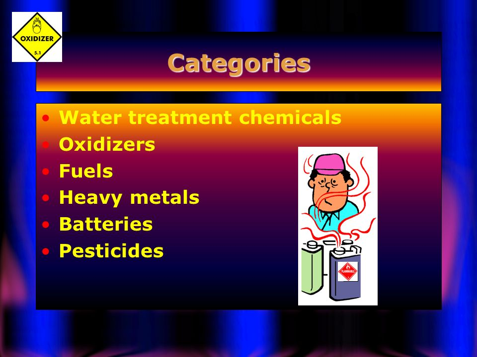 Categories Water treatment chemicals Oxidizers Fuels Heavy metals