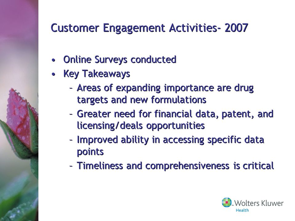 Customer Engagement Activities- 2007