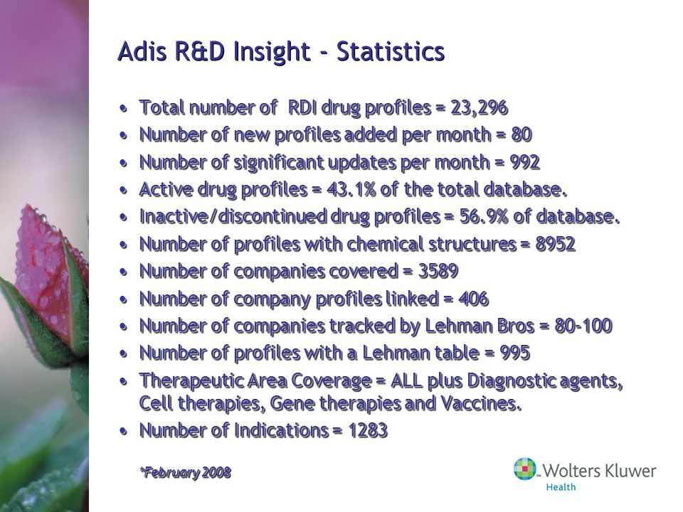 Adis R&D Insight - Statistics