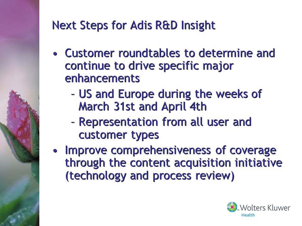 Next Steps for Adis R&D Insight