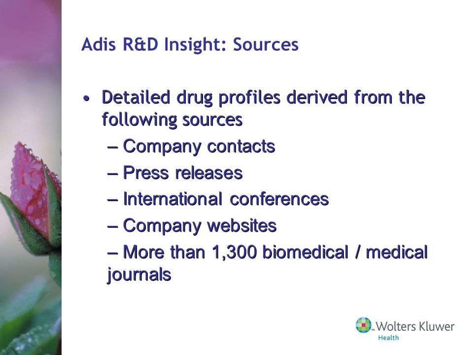Adis R&D Insight: Sources