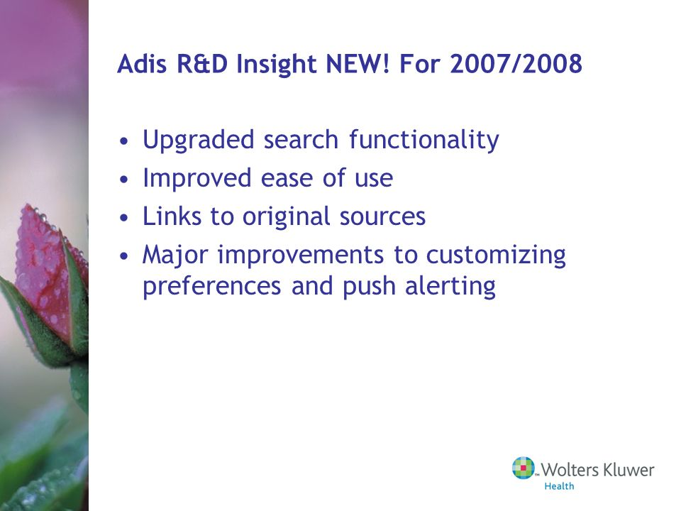 Adis R&D Insight NEW! For 2007/2008