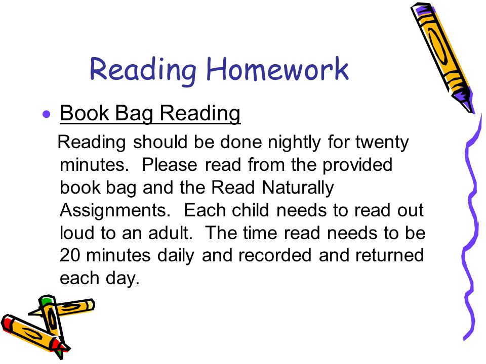 Reading Homework Book Bag Reading