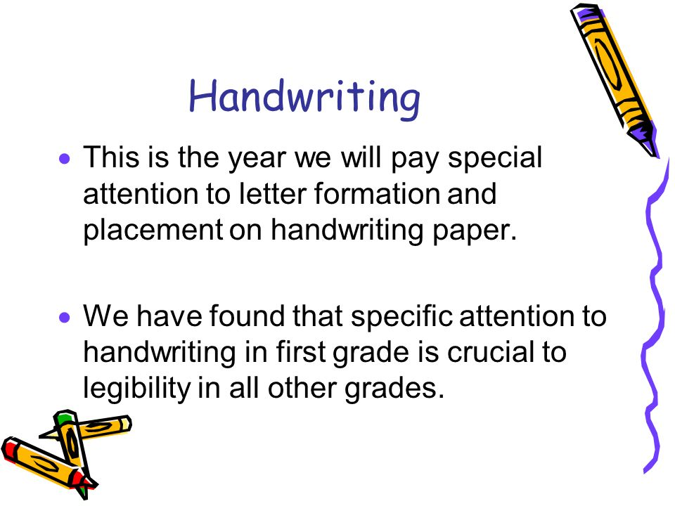 Handwriting This is the year we will pay special attention to letter formation and placement on handwriting paper.