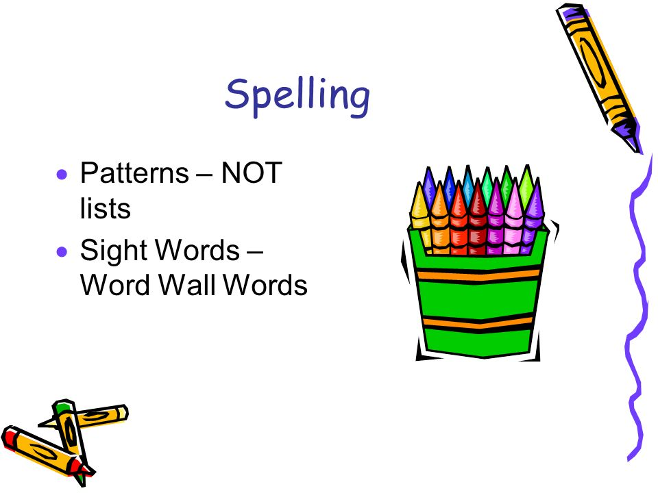 Spelling Patterns – NOT lists Sight Words – Word Wall Words