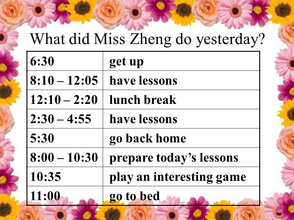 What did Miss Zheng do yesterday