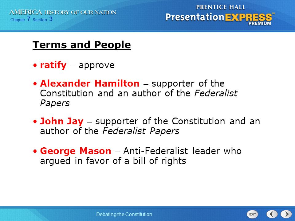 essays in favor of the constitution The federalist papers are a collection of eighty-five articles and essays written by alexander hamilton, james madison, and john jay in favor of ratifying the united states constitution.