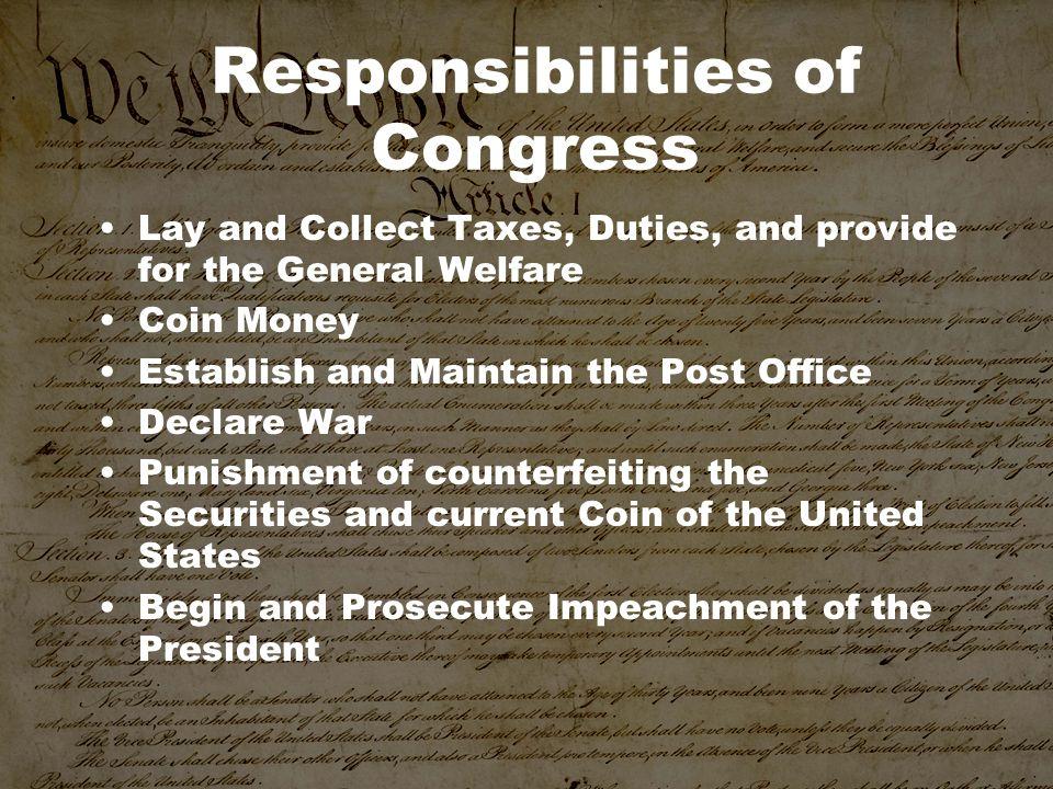 Responsibilities of Congress