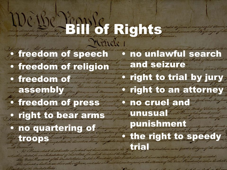 Bill of Rights freedom of speech freedom of religion