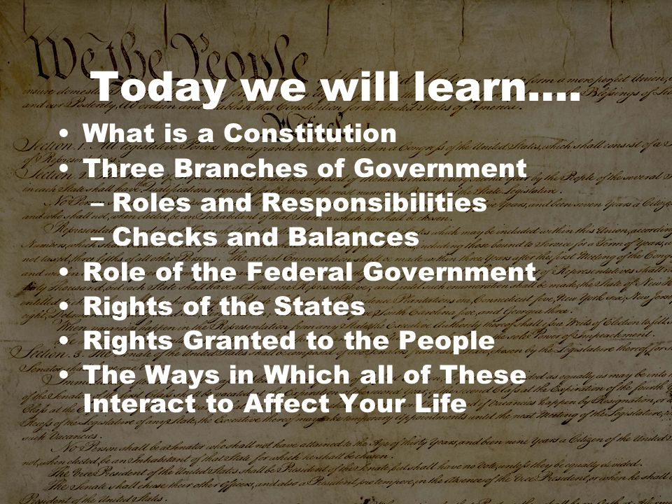 Today we will learn…. What is a Constitution