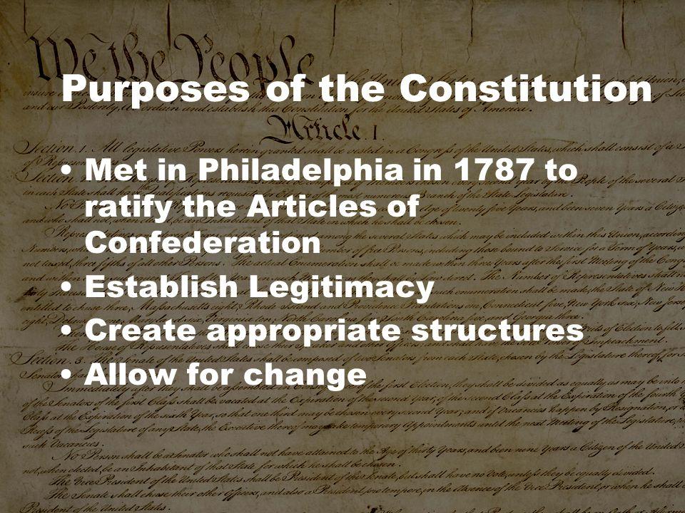 Purposes of the Constitution