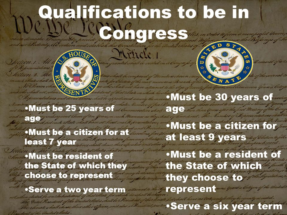 Qualifications to be in Congress