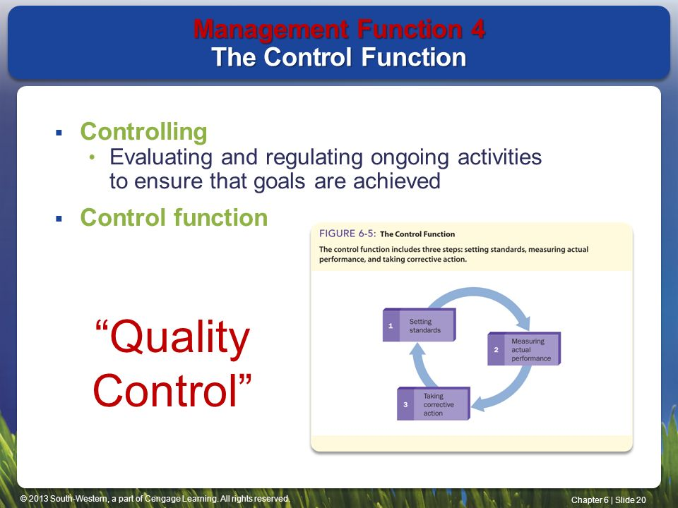 control function in management Fulfilling the controlling function management control can be defined as a systematic effort to compare performance to predetermined standards and address deficiencies.