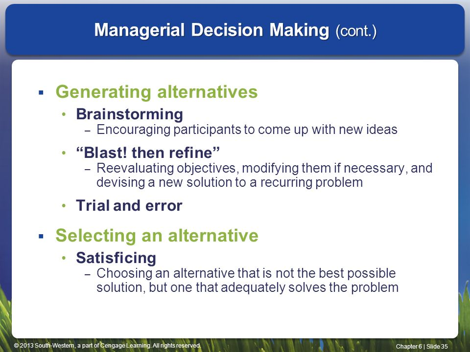 a summary of managerial decision making Business economics and managerial decision making is an essential introduction to business economics chapter summary review questions vi decision making in the regulated and public sectors 22 decision making in regulated businesses.