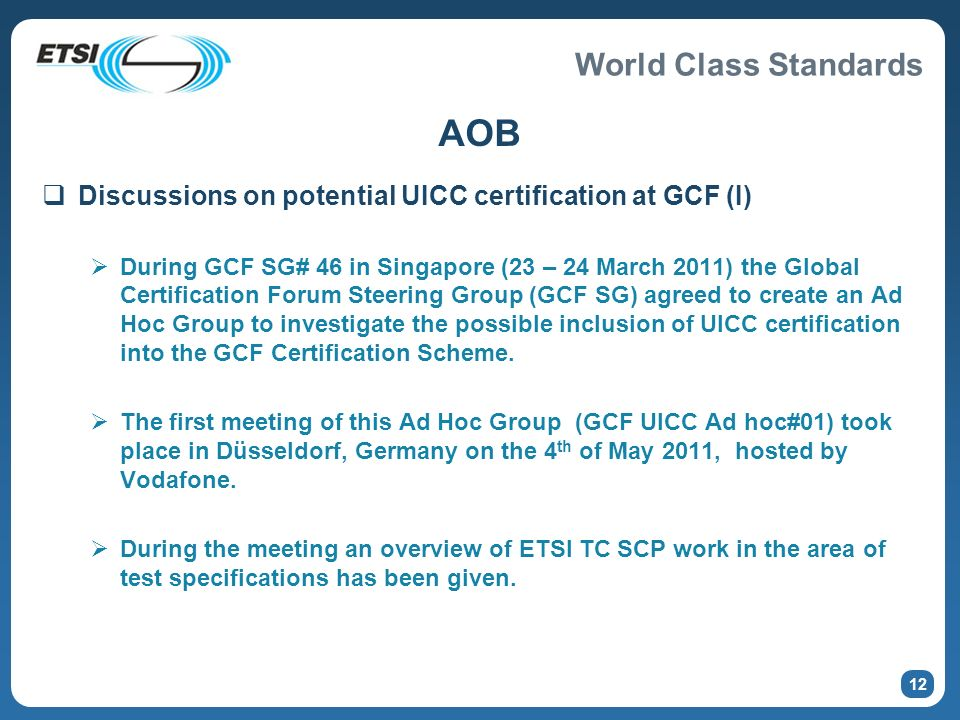 AOB Discussions on potential UICC certification at GCF (I)