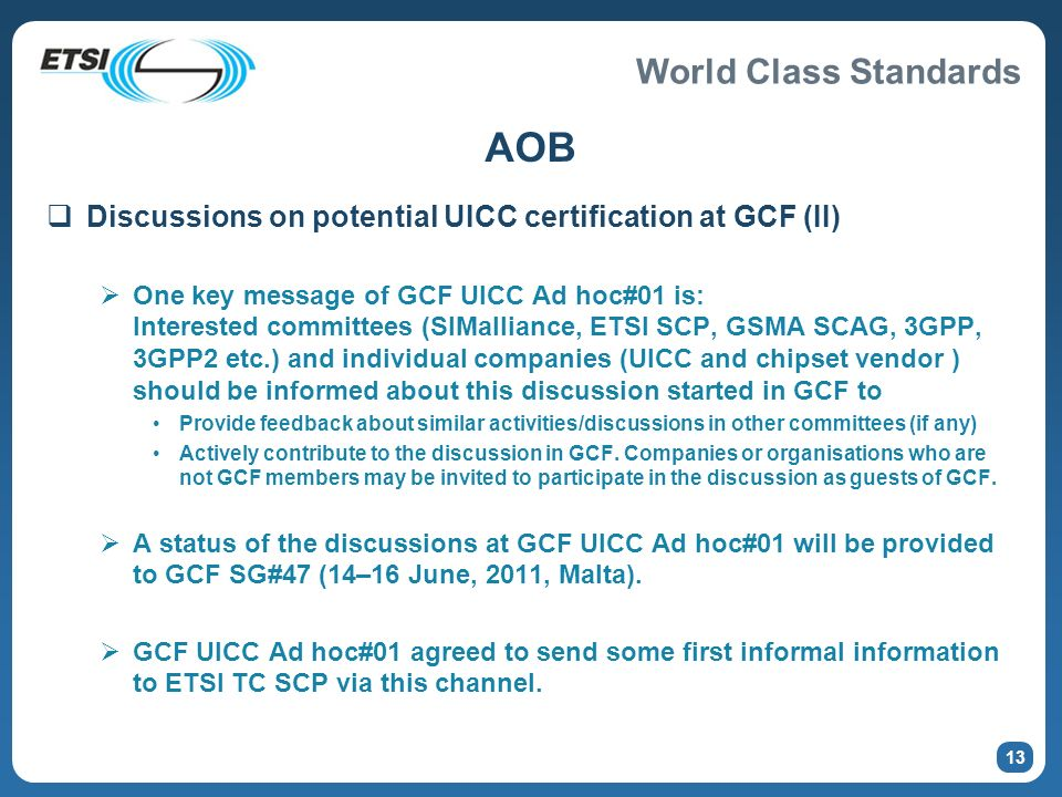 AOB Discussions on potential UICC certification at GCF (II)