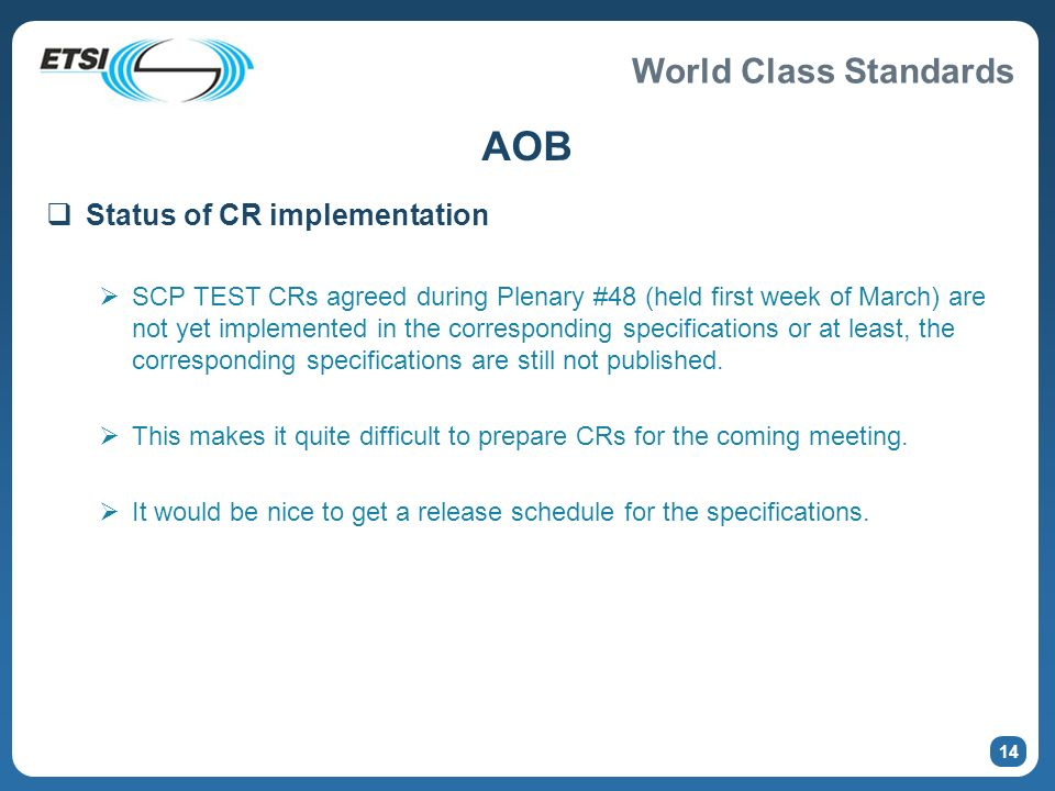 AOB Status of CR implementation