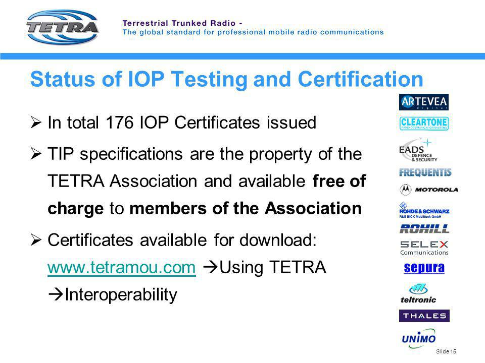 Status of IOP Testing and Certification