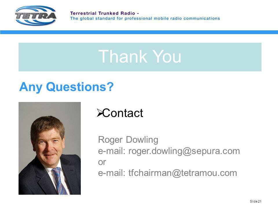 Thank You Any Questions Contact Roger Dowling