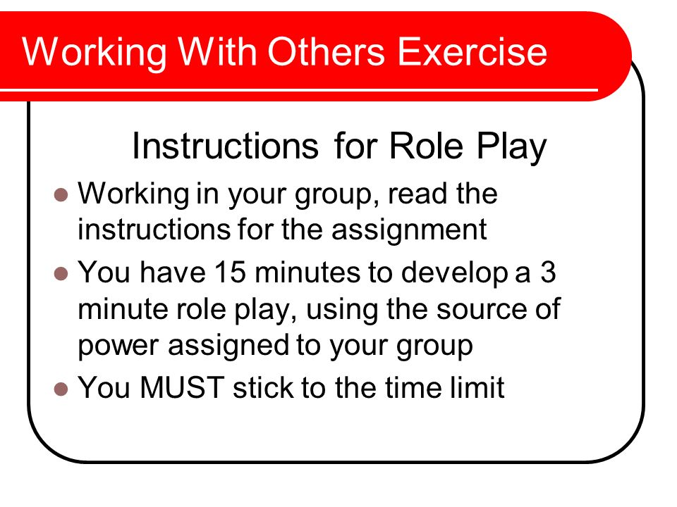 Working With Others Exercise