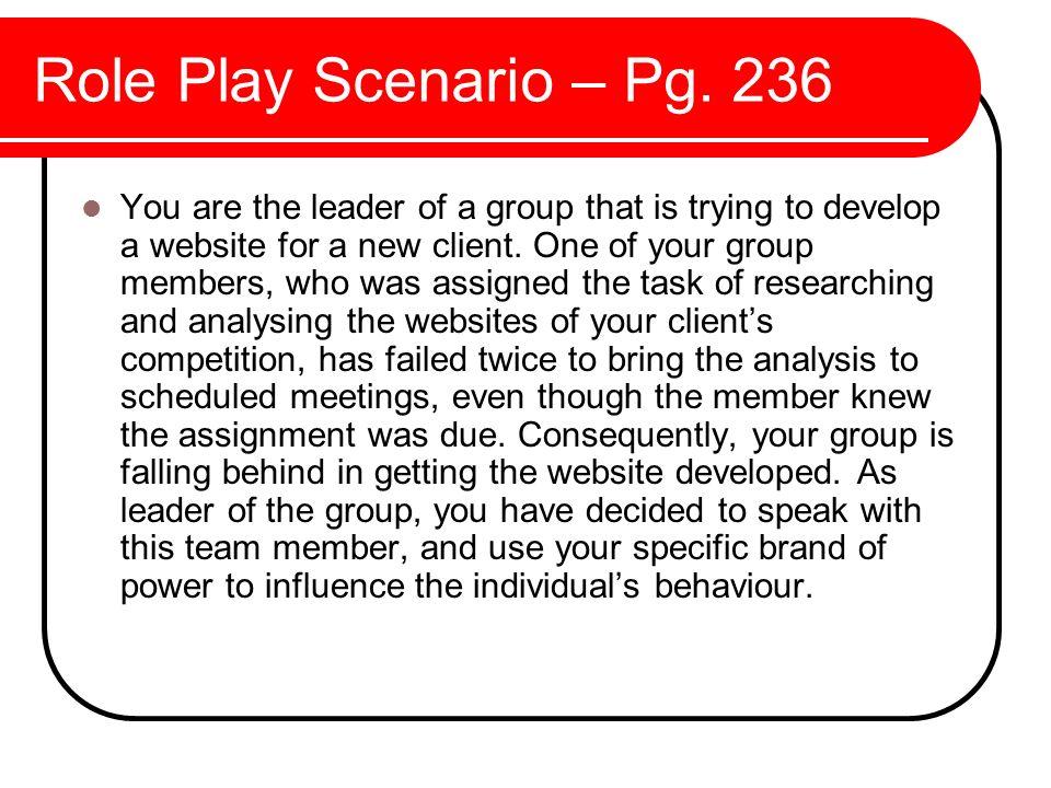 Role Play Scenario – Pg. 236