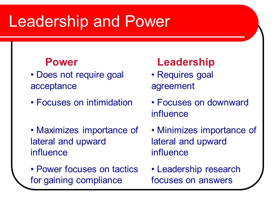 Leadership and Power Power Leadership Does not require goal acceptance
