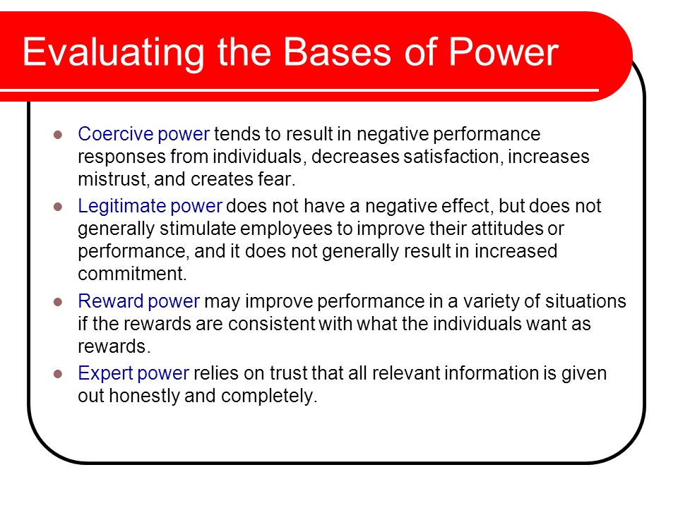 Evaluating the Bases of Power
