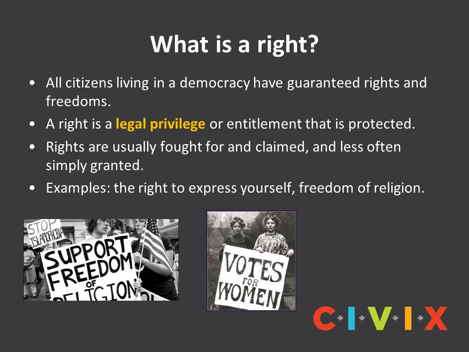 What is a right All citizens living in a democracy have guaranteed rights and freedoms.