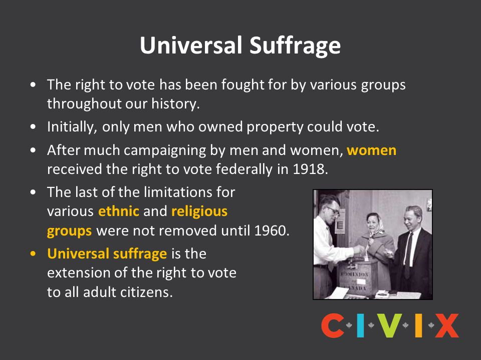 Universal Suffrage The right to vote has been fought for by various groups throughout our history.