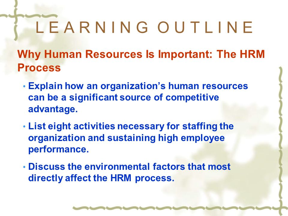 human resource management importance in organisations Employees are the human resources of an organization and its most valuable asset † examine the importance of human resource management to organizations.