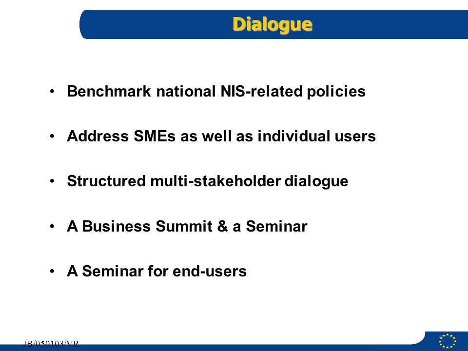 Dialogue Benchmark national NIS-related policies
