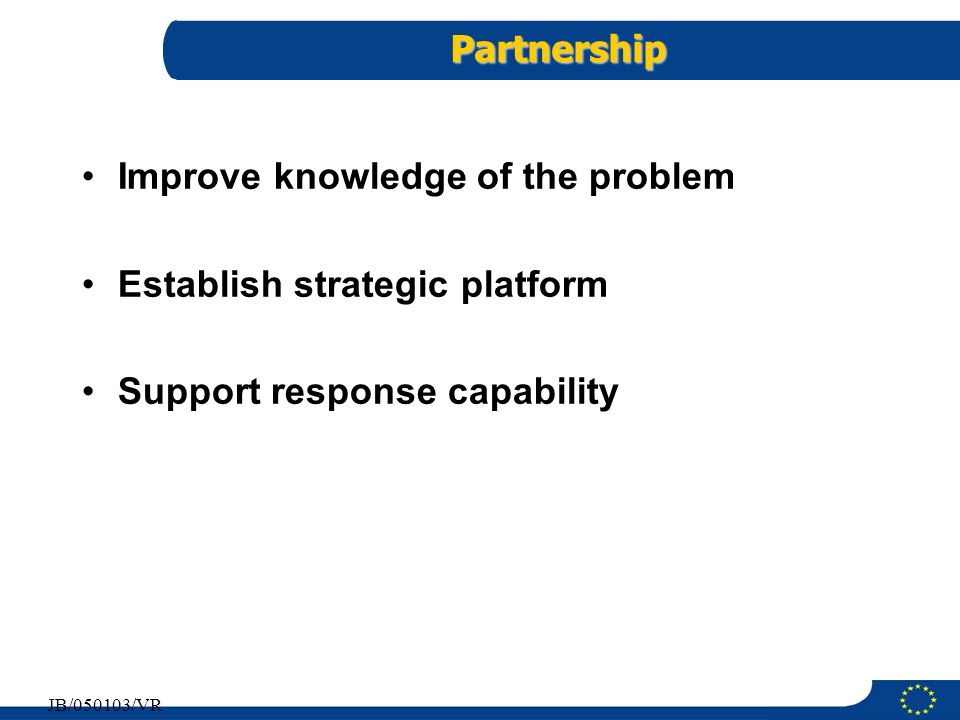 Improve knowledge of the problem Establish strategic platform