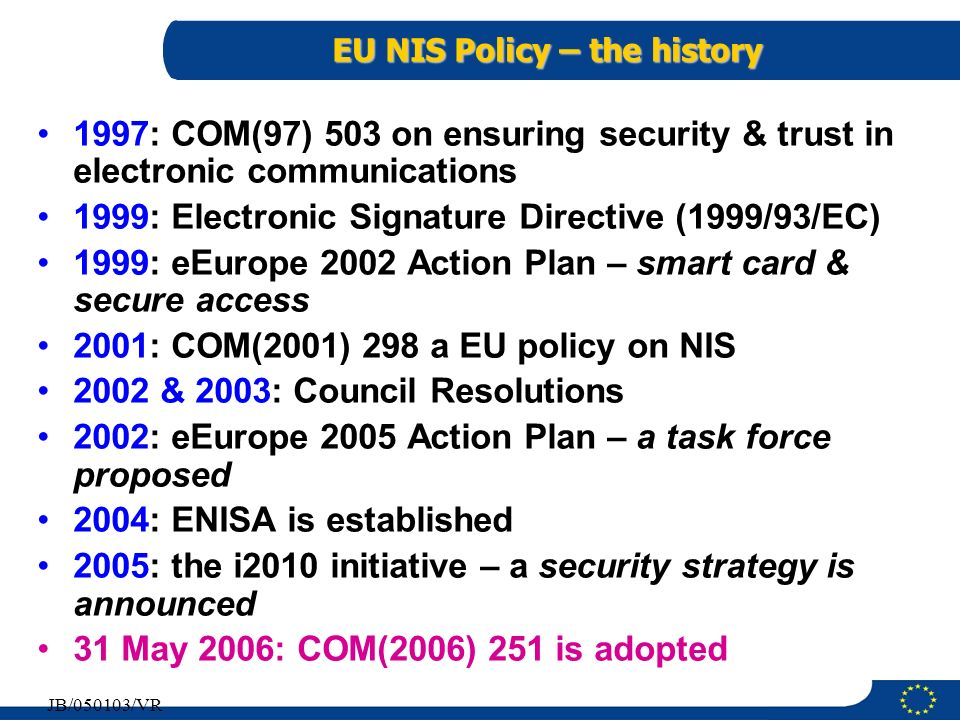 EU NIS Policy – the history