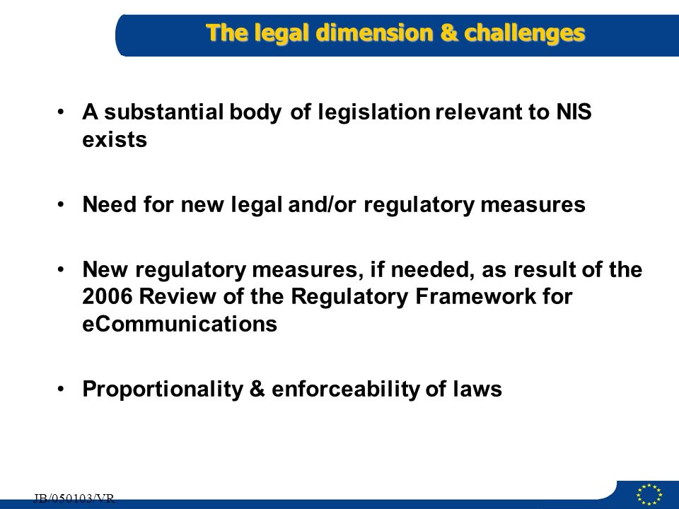 The legal dimension & challenges